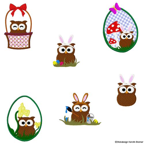 Eule Frohe Ostern Set