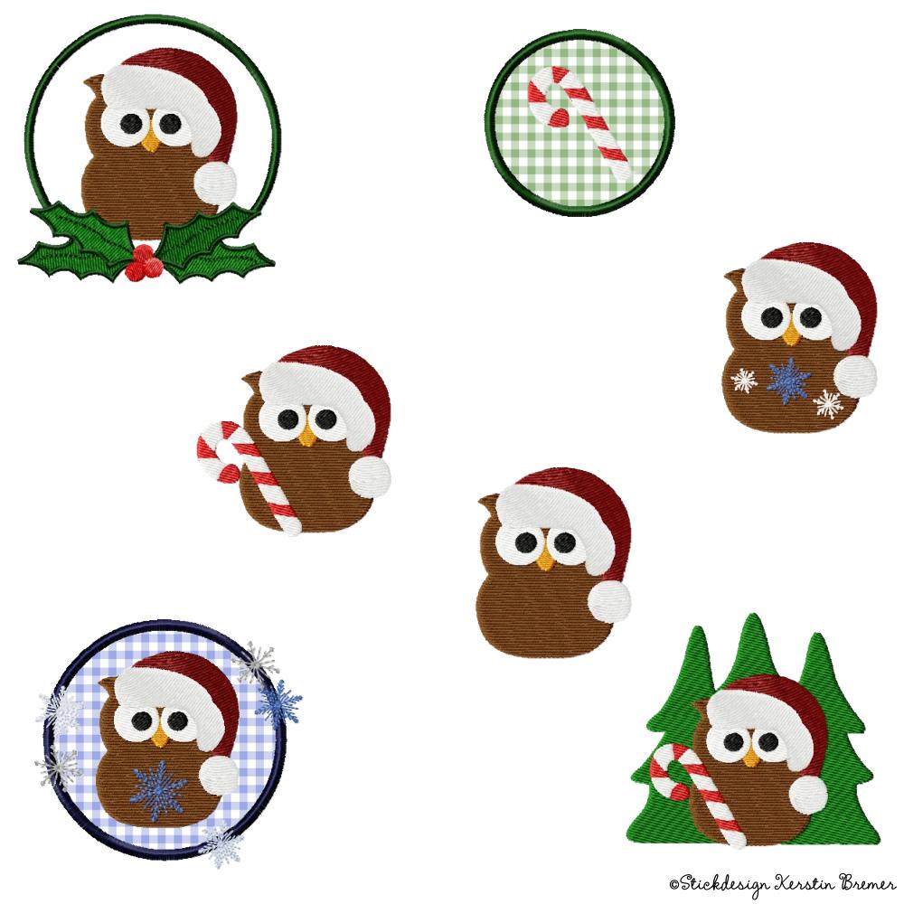 eule weihnachten stickdateien set