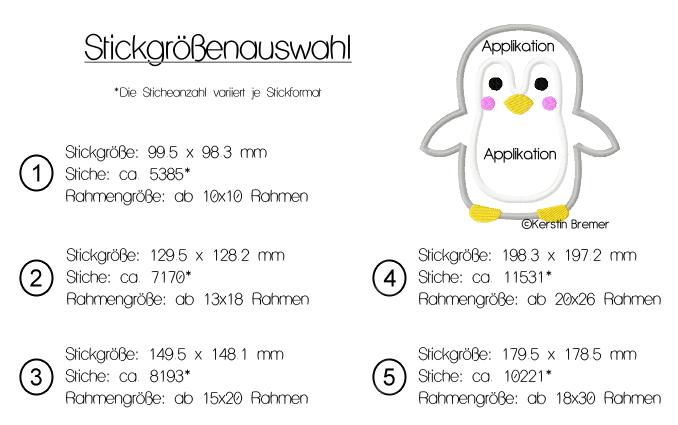 Pinguin Gabi Applikation Stickdatei - KerstinBremer.de