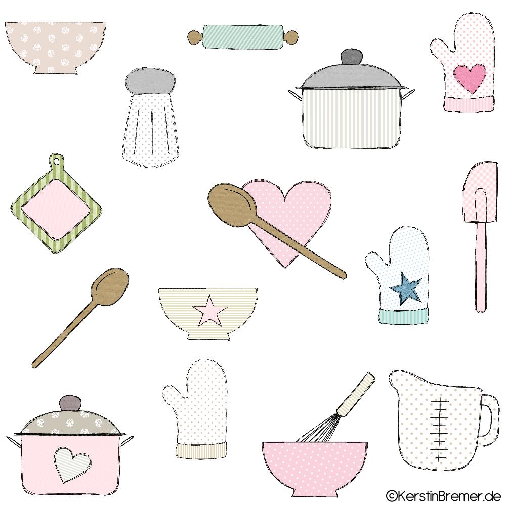 Kuchenutensilien Doodle Stickdateien Set Kerstinbremer De