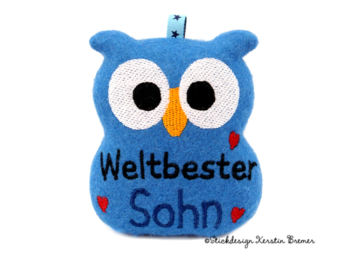 Weltbester Sohn Eule ITH Stickdatei