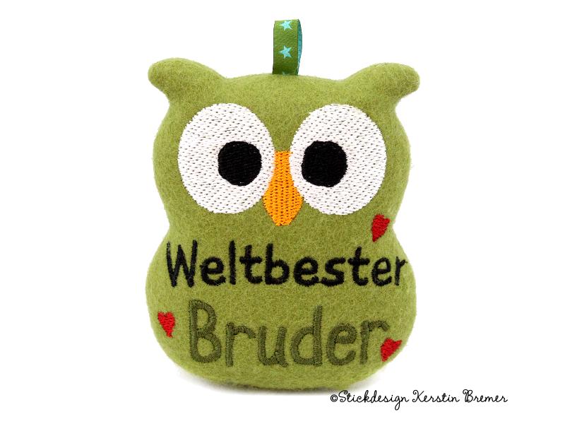 Weltbester Bruder Eule ITH Stickdatei - KerstinBremer.de