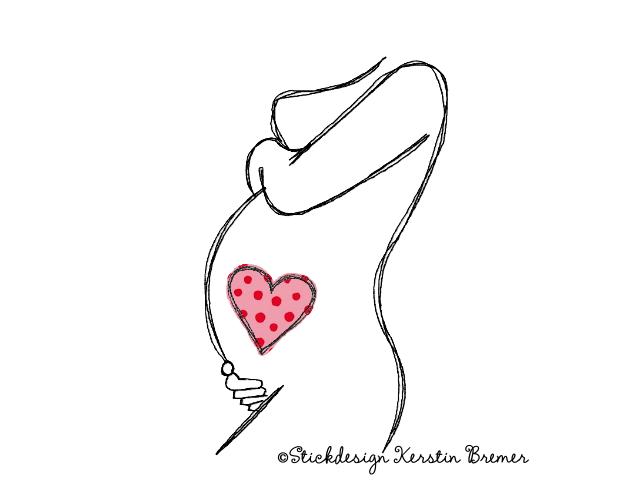 Schwangere Doodle Stickdatei - KerstinBremer.de