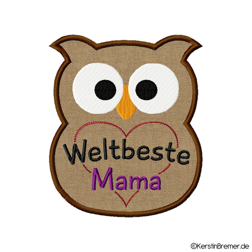 Applikation Eule Weltbeste Mama m. Herz