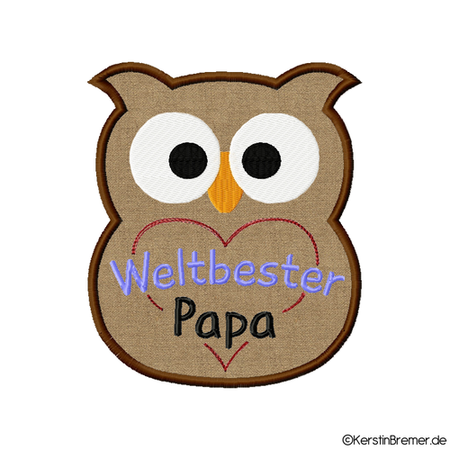 Applikation Eule Weltbester Papa m. Herz