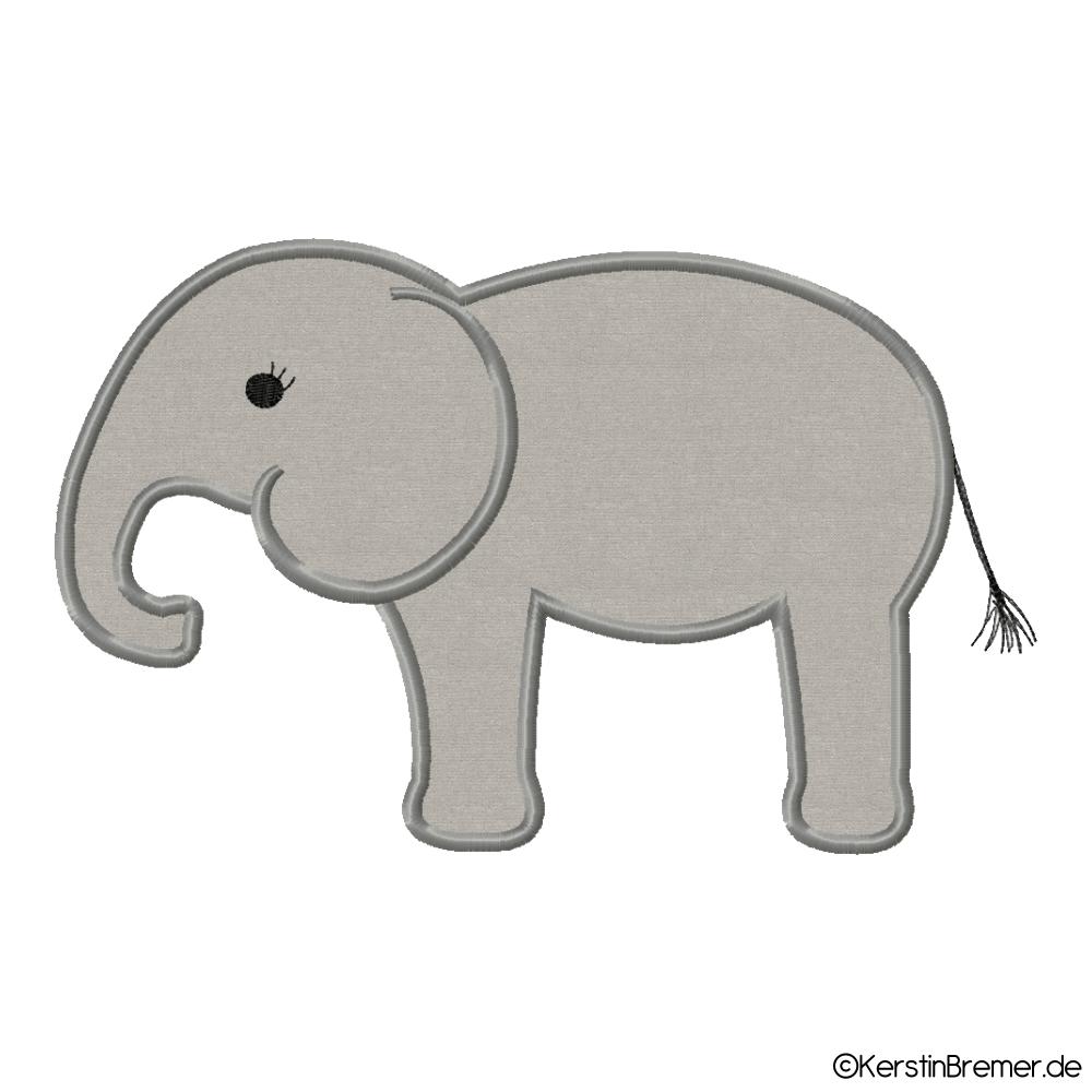 Elefant Applikation Stickdatei - KerstinBremer.de