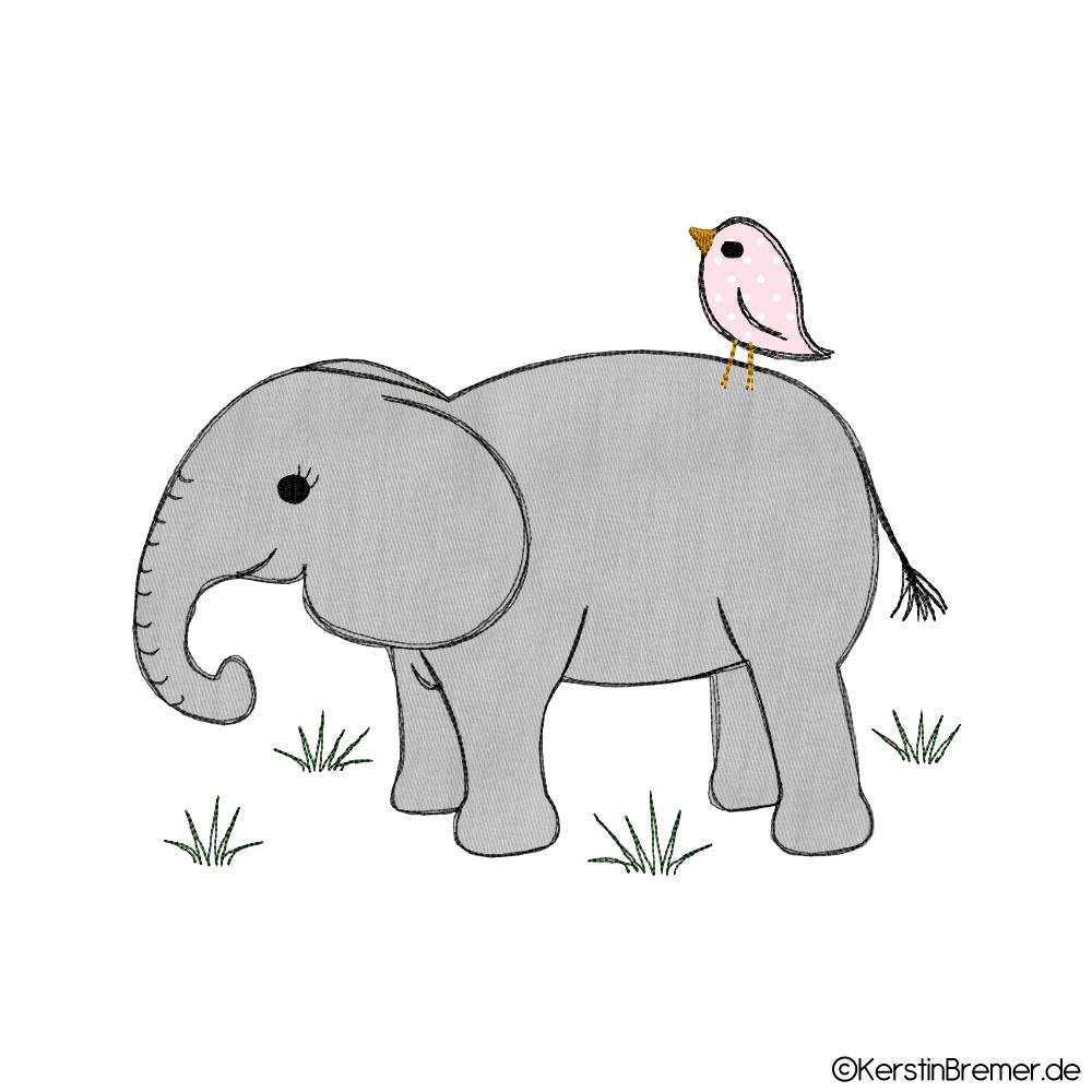 Elefant mit Vogel Doodle Stickdatei - KerstinBremer.de