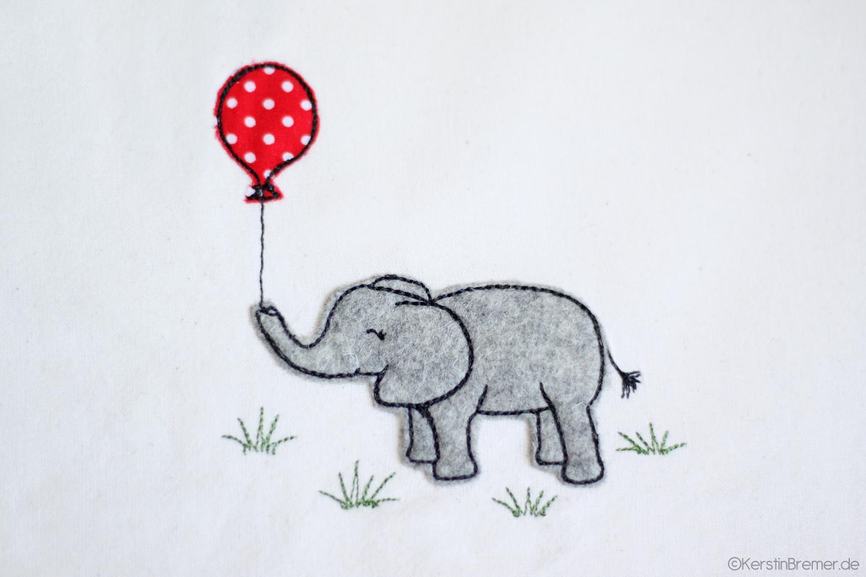 Elefant mit Luftballon Doodle Stickdatei - KerstinBremer.de