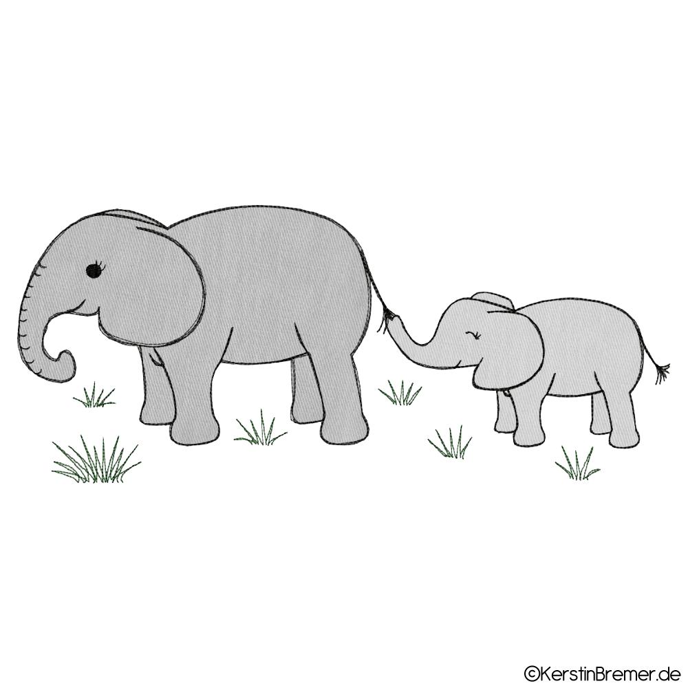 Elefanten Mutter mit Kind Doodle Stickdatei - KerstinBremer.de