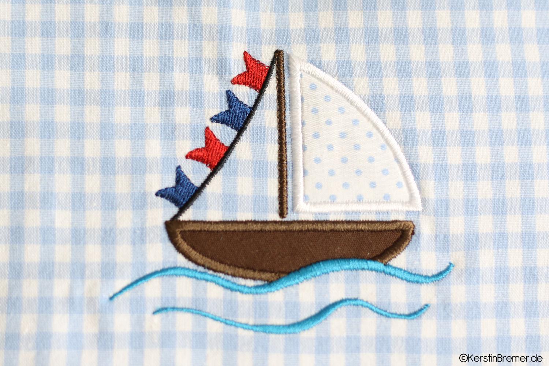 Segelboot applikation  Segelboot Wellen Applikation Stickdatei - KerstinBremer.de