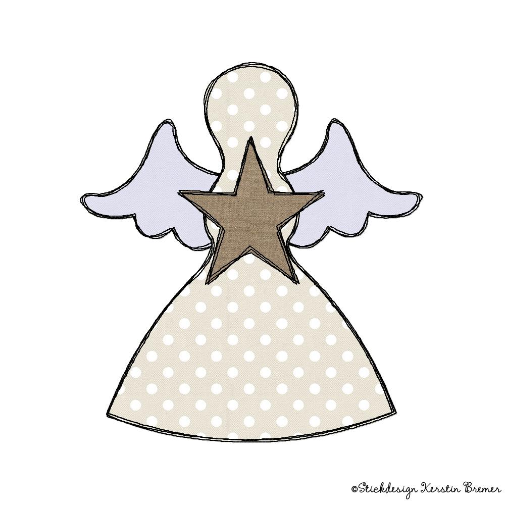 Engel mit Stern Doodle Stickdatei - KerstinBremer.de
