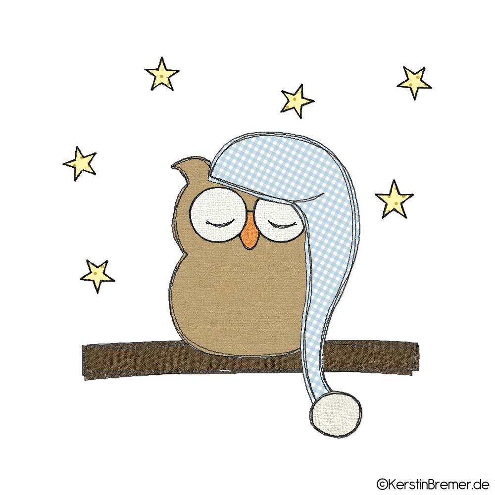 Gute Nacht Eule Doodle Stickdatei - KerstinBremer.de