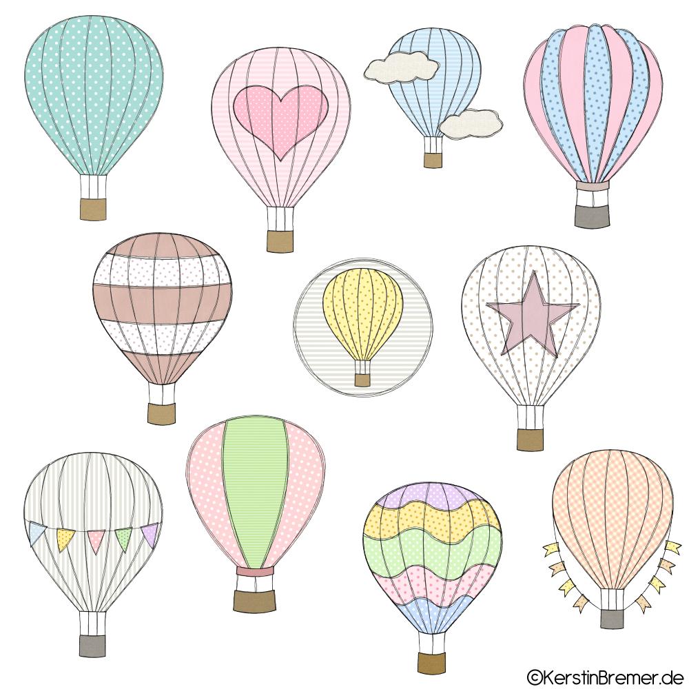 Heißluftballon Doodle Stickdateien Set - KerstinBremer.de