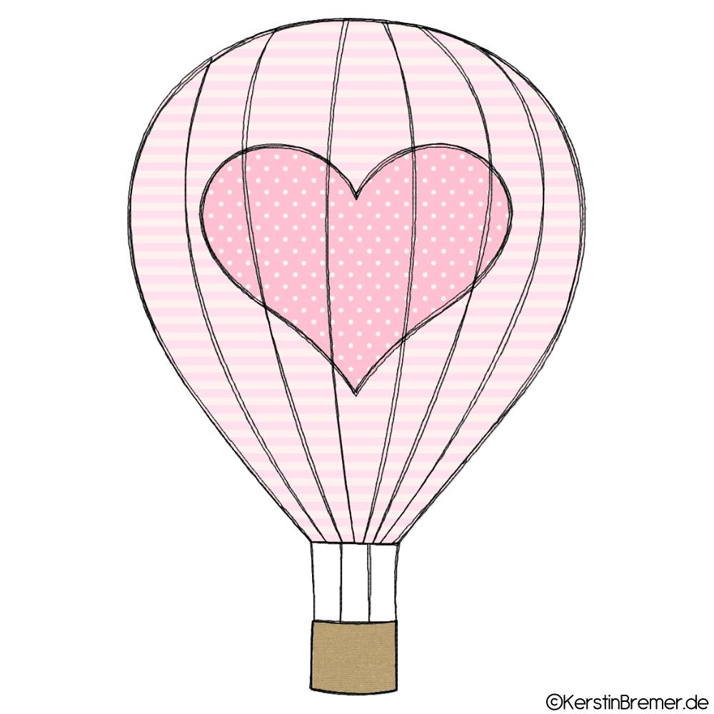 Heißluftballon mit Herz Doodle Stickdatei - KerstinBremer.de