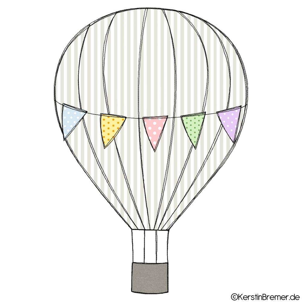 Wimpelkette Heißluftballon Doodle Stickdatei - KerstinBremer.de