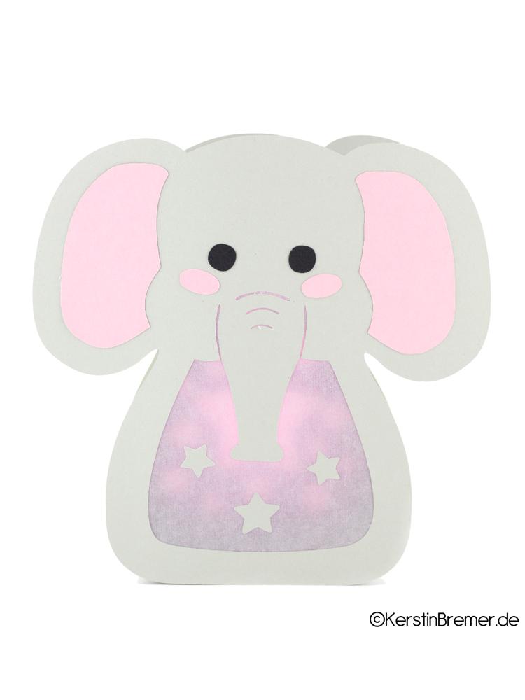 Plotterdatei Elefant Sterne Laterne - KerstinBremer.de