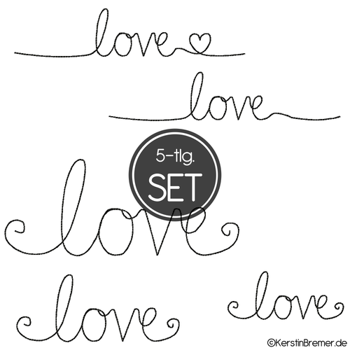 Love Stickdateien Set