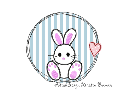 Hase Doodle Button Stickdatei