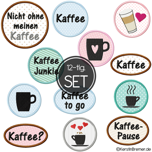 Kaffee Button Stickdateien Set
