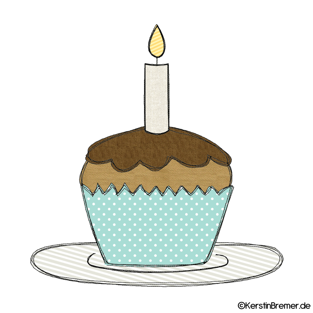 muffin mit kerze doodle stickdatei  kerstinbremerde