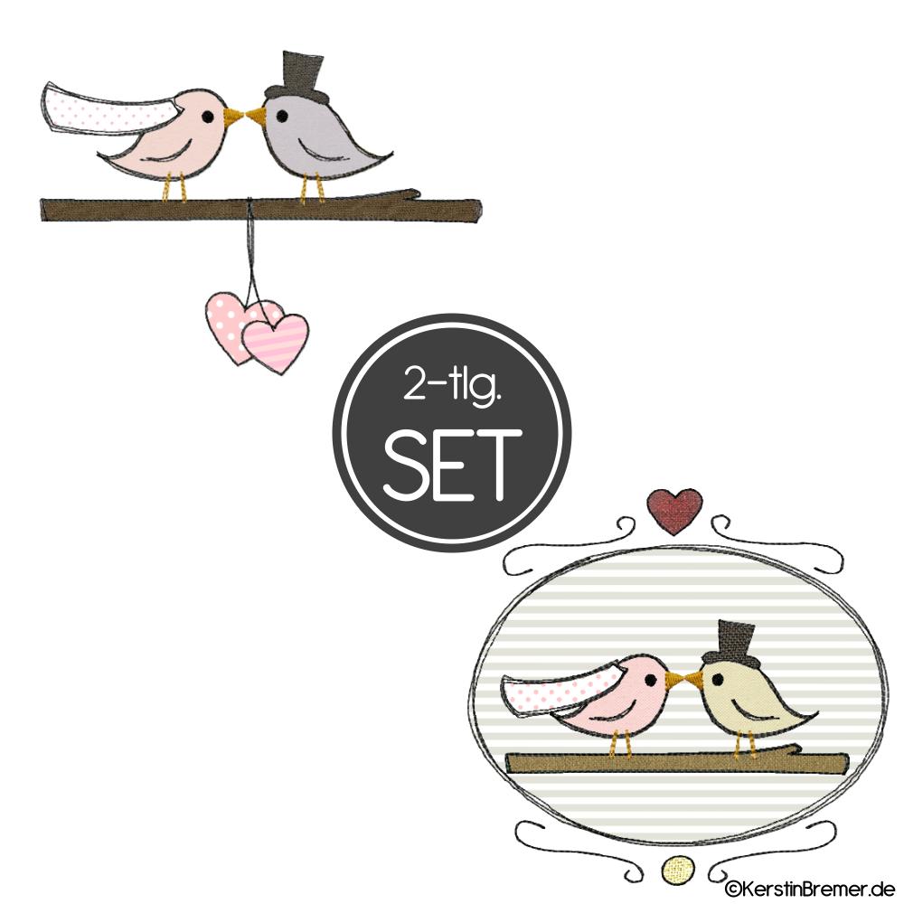 Vogel Hochzeit Doodle Stickdateien Set Kerstinbremerde