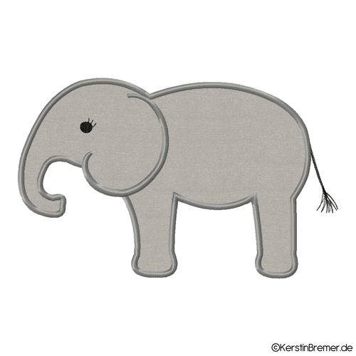 Elefant Applikation Stickdatei