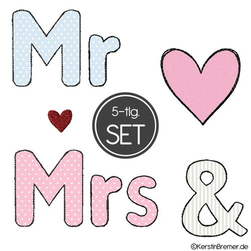 Mr and Mrs Doodle Applikation Stickdateien Set