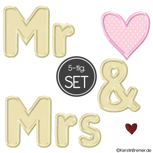 Mr and Mrs Applikation Stickdateien Set
