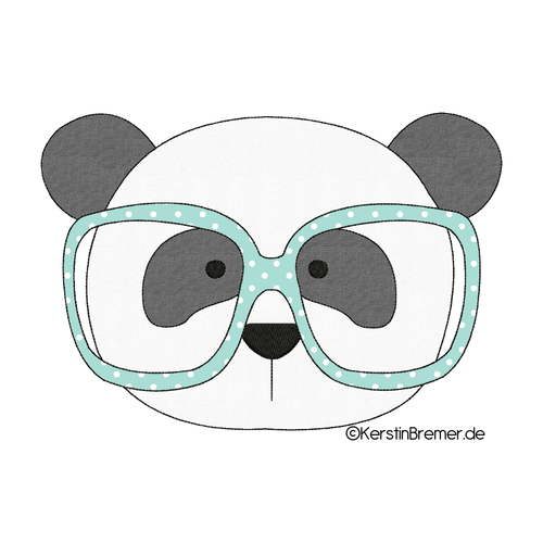 Panda mit Brille Fransenapplikation Stickdatei